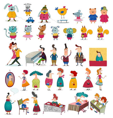 carita feliz caricatura: Personajes de dibujos animados sobre blanco