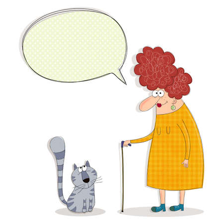 women s legs: Cartoon characters. Old woman and cat conversing Stock Photo