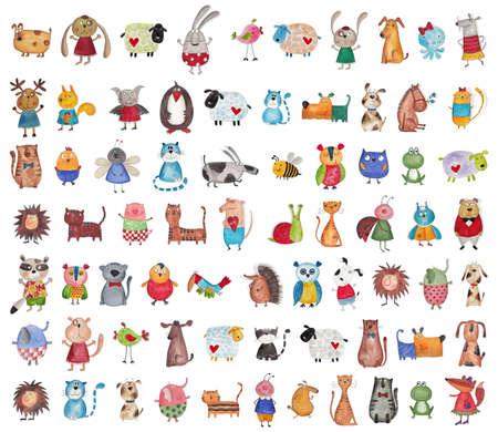 carita feliz caricatura: Mega colección de animales de dibujos animados