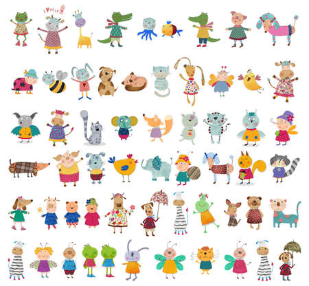 Mega collection of cartoon pets photo