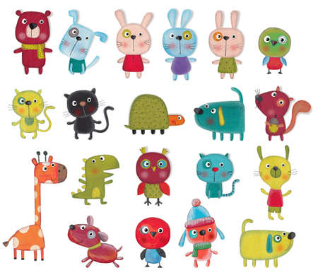 over: Set of cartoon characters over white background