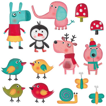 pet  animal: Set of cartoon characters over white background