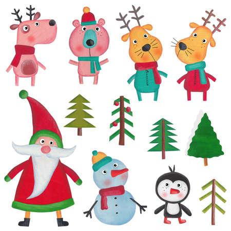 fondo para bebe: Objetos de decoración de Navidad sobre blanco