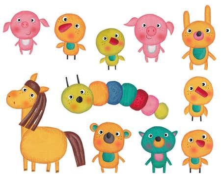 fondo para bebe: Conjunto de personajes de dibujos animados sobre fondo blanco