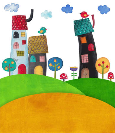 bird illustration: illustration for children Stock Photo
