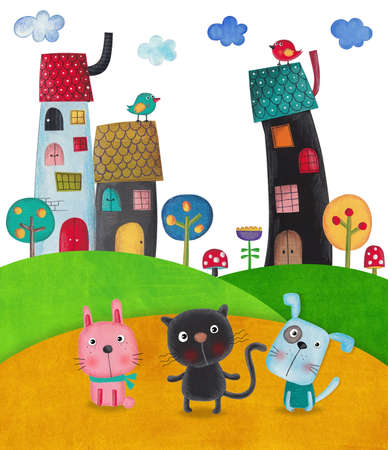 cartoon animal: illustration for children Stock Photo