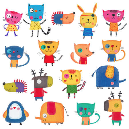 pussy cat: Set of cartoon characters over white background