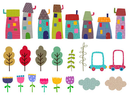 Craft set. Houses, trees,flowers