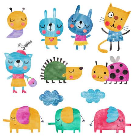 cartoon snail: Set of pets. Watercolors