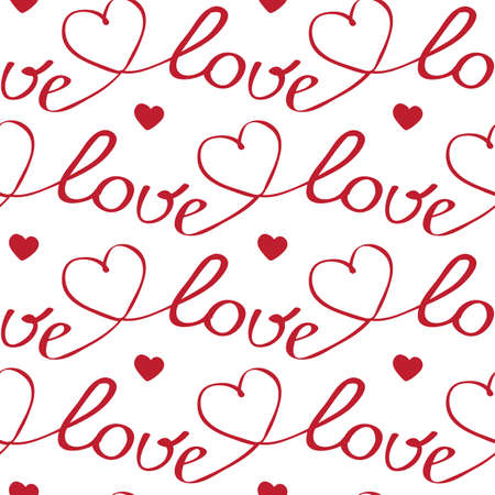 red hearts and letters seamless pattern on white backgroung