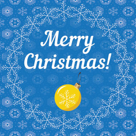 cadre: Merry Cristmas letters covered with snowflakes on blue snowy background