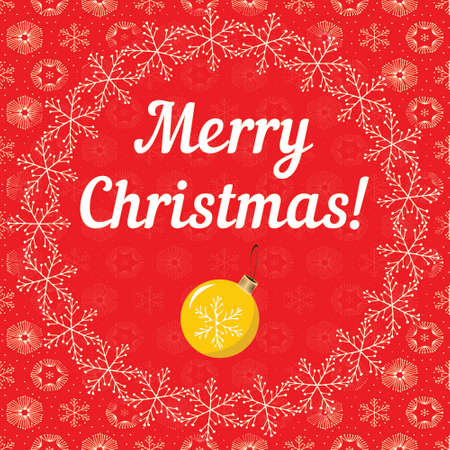 snowy: Merry Cristmas letters covered with snowflakes on red snowy background