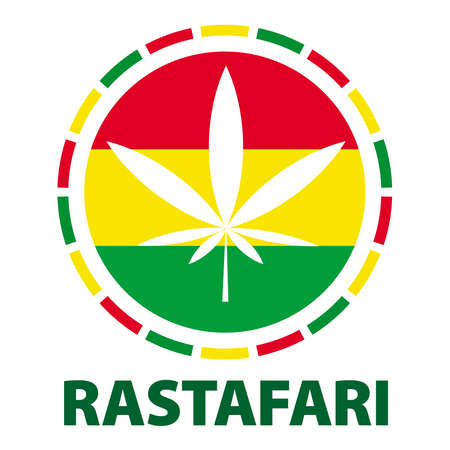 Marijuana leaf in rasta colours, illustration Illustration