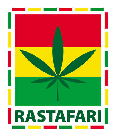 indoor bud: Marijuana leaf in rasta colours, illustration Illustration