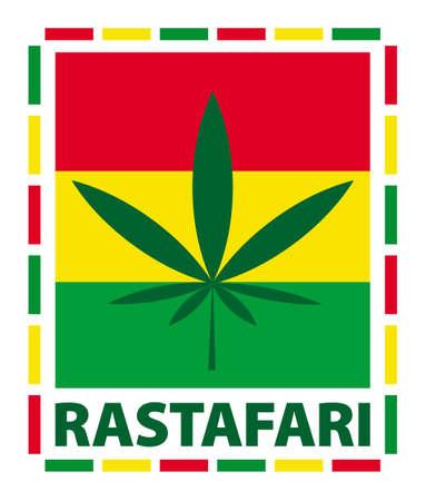 reefer: Marijuana leaf in rasta colours, illustration Illustration