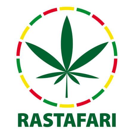 Marijuana leaf in rasta colours, illustration Illustration