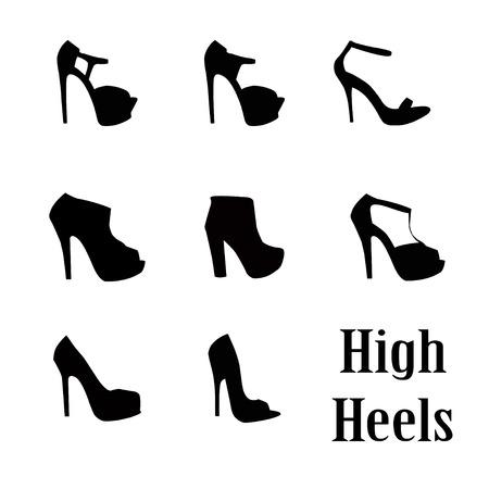 woman high heel shoe illustration vector format Vectores