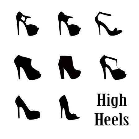 woman high heel shoe illustration vector format Çizim