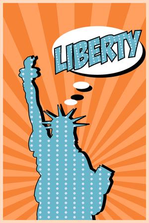 pop art statue of liberty, illustration in vector format Vector