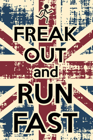 freak out: freak out and runf fast, illustration in vector format