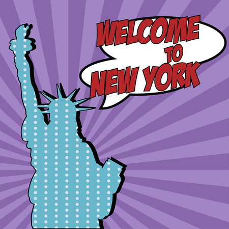 zonk: pop art welcome to new york, illustration in vector format