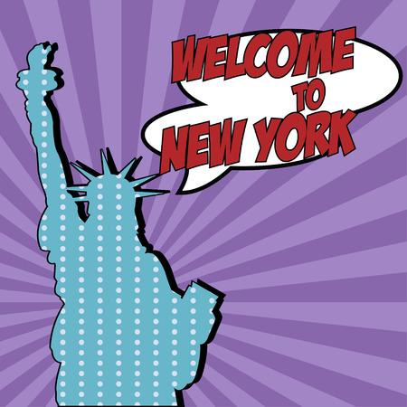 biff: pop art welcome to new york, illustration in vector format