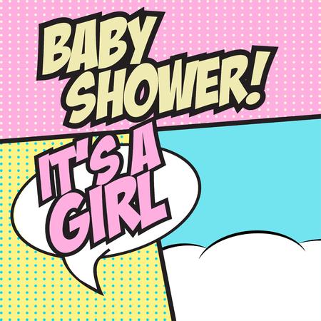 zonk: pop art baby shower, illustration in vector format