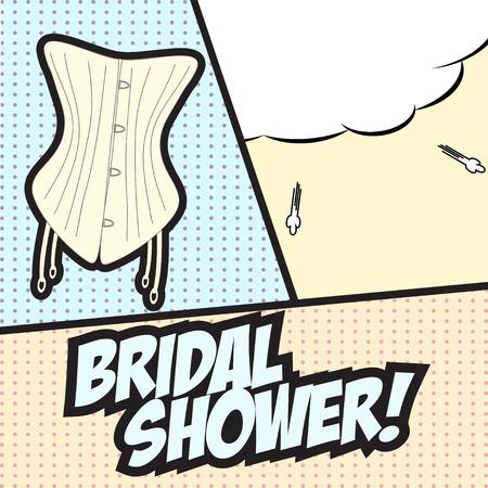 pop art bridal, shower, illustration in vector format Vector