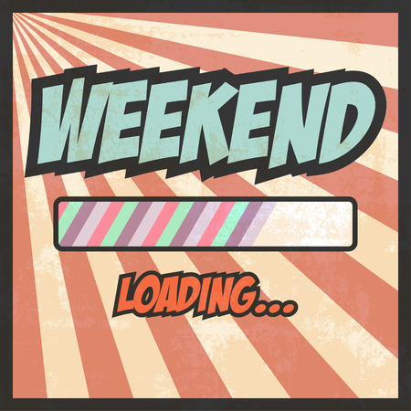 weekend loading pop art illustration Çizim
