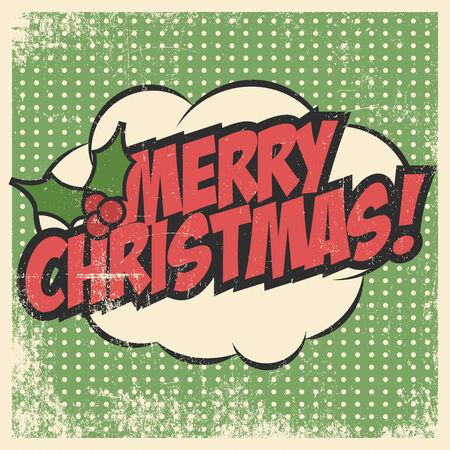 retro christmas: merry christmas greeting card Illustration