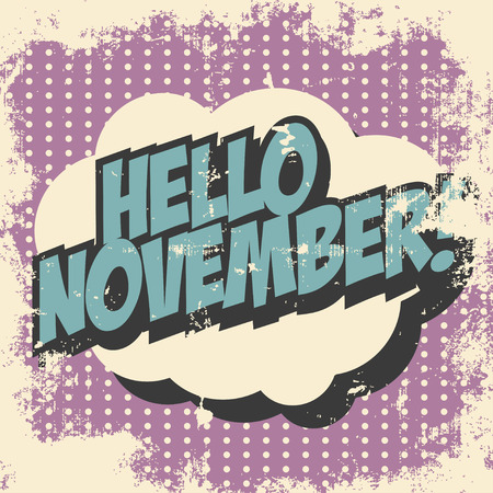hello november pop art background, illustration Vector