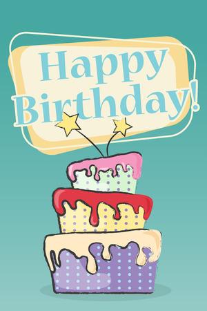 imperfections: happy birthday greeting card, illustration Illustration