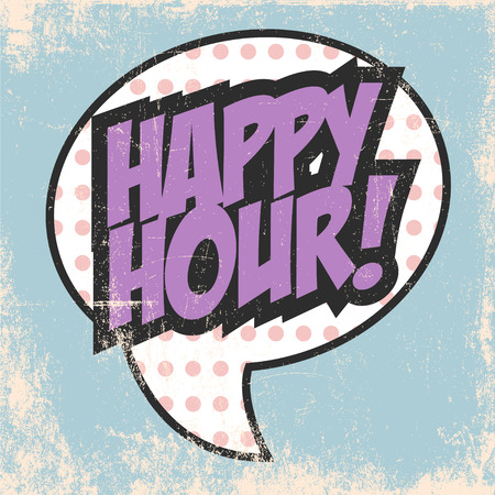 happy hour text bubble, illustration in vector format Vectores