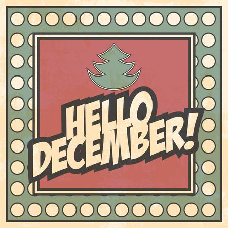 december: hello december background, illustration Illustration