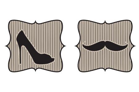 toilet door retro sign, illustration in vector format Vector