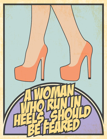women   s clothes: woman in heels illustration