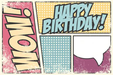 wow: invitaci�n de la fiesta de cumplea�os, la ilustraci�n en formato vectorial