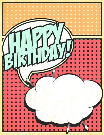 biff: birthday party card, illustration in vector format