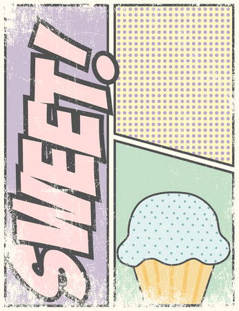 cupcake illustration: sweet cupcake background,, illustration in vector format