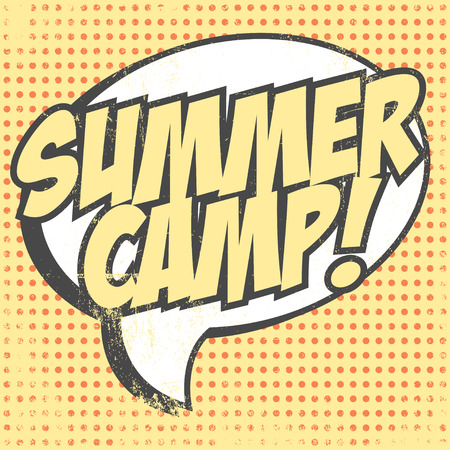cartoon summer: summer camp background, illustration in vector format