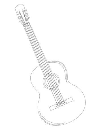 acoustic guitar background, illustration in vector format Çizim