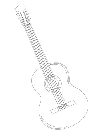 acoustic guitar background, illustration in vector format Vectores