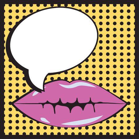 bage: pop art mouth, illustration in vector format Illustration