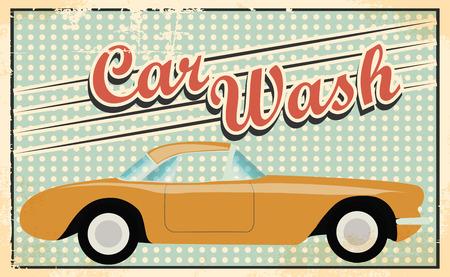 retro car wash, illustration in vector format