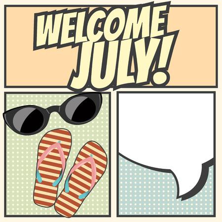 bienvenida: bienvenidos fondo julio, ilustración en formato vectorial