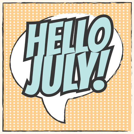 mom and pop: hello july background, illustration in vector format