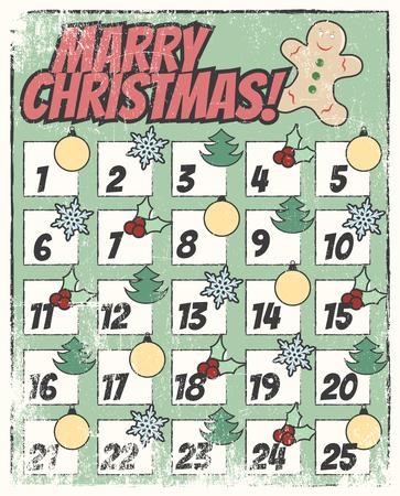 marry christmas calendar, illustration in vector format
