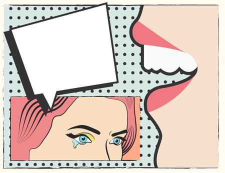 triptych: pop art background, illustration in vector format Illustration