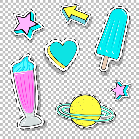 eighties: trendy funny patches,illustration in vector format