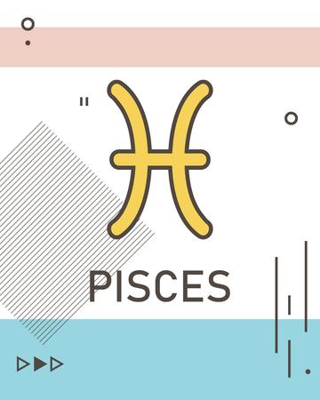 Memphis zodiac sign card, illustration in vector format